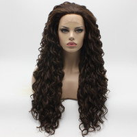 Iwona Hair Curly Long Two Tone Brown Mix Wig 18 # 6/8 Half Hand Tilé à la chaleur sans silicone Lace Front Daily Natural Wigs