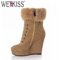 Wholesale Tie Wedge Ankle Boots - Wholesale- Fashion Buckle Cross tie Wedges Shoes Ankle Boots 2016 Brand High Heels Platform Shoes Autumn Winter Boots Women Shoes Woman