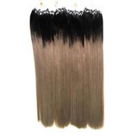 наращивание человеческих волос micro loops ombre оптовых-Ombre бразильские волосы микро петли человеческих волос расширения 1G 400g цвет 1b / серый 100% реальные серебряные серые расширения волос микро