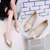 Wholesale Gold Shoes For Women - women sexy flat heels pointed toe pumps office shoes party shoe fashion Single shoes for women's Wedding black gold silver shoes pointed toe