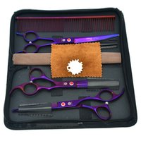 Wholesale dragon shears - 7.0Inch Purple Dragon Professional Pet Grooming Scissors Set Dog Cutting Scissors & Thinning Scissors Curved Shears Puppy Supplies , LZS0353