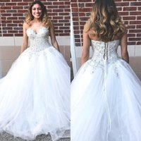 Wholesale Sweetheart Lace Beadings - Free Shipping Glamorous Beadings Crystals Ball Gown Wedding Dresses Princess Sweatherat 2017 Backless Tulle Lace-up Bridal Gowns