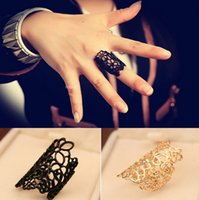 Wholesale black flower crystal ring for sale - Group buy Lace Pattern Rings Unisex Hollow out Flower Gold Plated Black Knuckle Rings