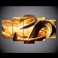 Wholesale Dragon Sheets - 5 Pcs Set HD Printed Cartoon Dragon Ball Painting Canvas Print room decor print poster picture canvas Free shipping NY-5853
