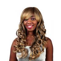 Wholesale Long Blonde Wigs Curls - Long Natural Glueless Heat Resistant Hair Ombre Brown To Blonde Loose Curl Machine making wig Lace Front Wigs For Women