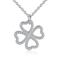 Wholesale Real Clover Necklace - BELAWANG Real 925 Sterling Silver Shining Cubic Zirconia Four Leaf Clover Pendant Necklace Love Heart Necklace Fashion Jewelry For Women