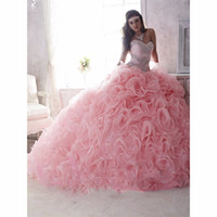 Wholesale Cheap Quinceanera Ball Gown - Cheap Quinceanera Dresses 2016 Ball Gown Sweetheart Organza Crystals Beaded Ruffles Pink Detachable Sweet 16 Pageant Dresses