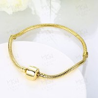Wholesale Stainless Steel Rings 3mm - (In Stock)Factory Wholesale 18kg Gold Plated Bracelets 3mm Snake Chain Fit Charm Bead Bangle Bracelet Jewelry Gift For Men Women