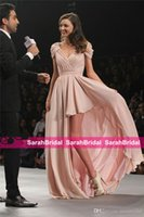 Wholesale Miranda Kerr Pink Chiffon Dress - Sexy Miranda Kerr V-Neck 12y Chiffon Celebrity Dress 2017 Cap Sleeve High Low Ruched Floor Length Cheap Blush Pink Party Gowns Evening Wear