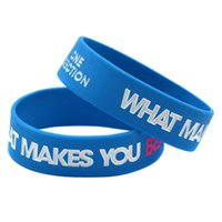 Wholesale one direction glow - 50PCS Lot 3 4 Inch Wide One Direction Silicone Wristband Bracelet What Makes You Beautiful 4Colours