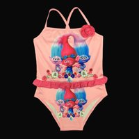 Wholesale Girls Rainbow Swimwear - Fashion Cartoon Girls Swimwear Princess Swimming Rainbow Dots One-Pieces Girl's Swim Clothes Floral Princess Girl Swimwear A6048