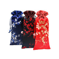 Wholesale Silk Cloth Drawstring Bags - Lengthen Cherry blossoms Patchwork Cloth Pouch Drawstring Silk Brocade Jewelry Necklace Gift Packaging Bag Comb Storage Pocket Phone Cover