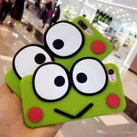 Wholesale Iphone Frog Case - Fashion Cute Animal Frog Cartoon Case For iPhone 7 6 6S Plus Shockproof Silicone Case Soft Mobile Phone Shell Back Cover Case