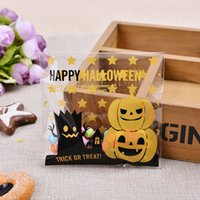 Vente en gros- 100 pièces 2 style Halloween Yellow Pumpkin Cadeaux Sacs Plastique Clear DIY Candy Cookies Birthday Party Craft Sacs Emballage Sacs