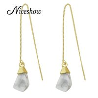 Wholesale Crystal Chandelier For Sale - New Gold Tassel Chain Long Earrings with Geometric Natural Stone Charm Dangle Earrings for Women on Sale