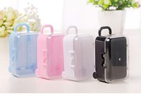 Wholesale Plastic Shower Accessories - Clear Mini Rolling Travel Suitcase Favor Box Wedding Favors Party Reception Candy Package Baby Shower Ideas