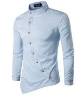 çiçek desen erkek gömlek toptan satış-Nakış Asimetrik Gömlek Erkekler 2018 Çiçek Desen Eğim Tek Göğüslü Uzun Kollu Standı Yaka Ücretsiz Gemi Mens Parti Kulübü Gömlek