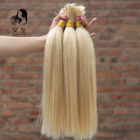 Wholesale Blonde Human Braiding Hair - Brazilian Straight Bulk Hair No Weft #613 bleach blonde Brazilian Vrigin Human Hair For Braiding 8''-30'' Free Shipping