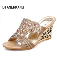 Wholesale Sexy Floral Heels - Wholesale-New 2016 Summer Fashion Women Sandals Sexy Rhinestone Butterfly Cut-outs High Heels Wedges Sandals Party Shoes Woman Slides L35