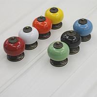 grüne schubladenknöpfe großhandel-20 teile / paket 34mm Bunte Keramik Tür Schubladenschrank Möbel Griff Knob Schraube Möbel Zubehör Rot Grün 7 Farbe für Chooce