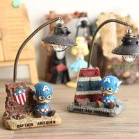 Wholesale Nightlight Gifts - Cartoon Captain America Nightlight home resin gifts creative decoration lamp ornaments