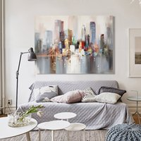 Wholesale oil paint abstract buildings for sale - Group buy Framed Hand Painted Abstract Landscape Art oil painting Bridge and Building On High Quality Canvas Home Wall Decor size can be customized