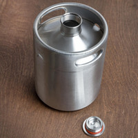 ingrosso viti barili-2L Homebrew Growler Mini Keg In Acciaio Inox Birra Growler Beer Keg Tappo a vite Pot di vino Barile di birra OOA2139