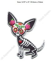 "Wholesale wholesale embroidered dog patches - 3.75"" SUGAR SKULL DOG Patches day of the dead Outlaw Club Rider biker vest Embroidered dia de los muerto CHIHUAHUA MUERTA"