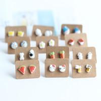 Wholesale Korean Handmade Earrings - Fashion Handmade Cartoon Ceramic Stud Earring Plastic Auricular Fashion Animal Plant Original Japanese and Korean Style Jewelry Accessory