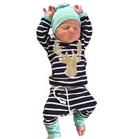 Wholesale Wholesale Hood T Shirts - Baby Boys Sets Children Set New INS 3PCS Cotton Striped Long Sleeve T-Shirt Solid Color Hood Long Pants Kids Clothes Boys Clothing XY15