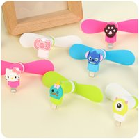 Wholesale Cartoon Plastic Fan - Lovely Fanner Cartoon Pattern Mini Micro USB Fans Mute Removable Fan For Android Samsung Iphone Cool Cooler Fanners Portable 4 xr A R