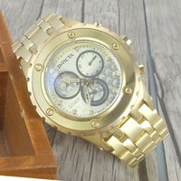 Wholesale Brazilian Gold - INVICTA 2017 Brazilian Hot Selling Large Dial Luxury Men's Watches Gold steel band Sports Watch Quartz Watches Relojes de Hombre
