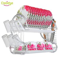 Wholesale Double Dish Rack - Delidge 1 pc 2 Layers Dish Rack Metel S-Shaped Tableware Shelf Plate Cutlery Cup Rack Drain Bowl Rack Kitchen Dish Shelf
