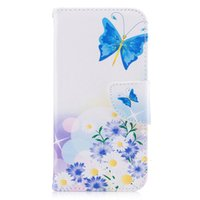 ingrosso caso di vibrazione del iphone della farfalla-Per iPhone X Cover Dipinta PU Custodie in pelle Portafogli Carta di credito Stents fondina Feather Colorful Blue Butterfly Designer Covers