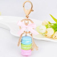 Wholesale Macaron Tower - Wedding Party Favor Resin Macaron Key chain Effiel Tower Bag Charm macarons keychain DHL Free Shipping