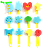 Wholesale Wholesale Language Learning Tools - Happyxuan 12pcs lot Sponge Brush with Handle Diy Painting Animal Love Heart Graffiti Tool Set Kindergarten Handmade Material Toy