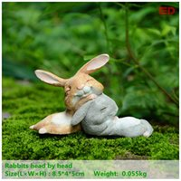 Wholesale Crafts Bunny - Everyday Collection Bunny Rabbits Resin Fairy Garden Miniatures Gnome Moss Terrarium Craft Bonsai Home Decor For Easter Day Gift