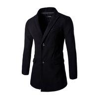 Wholesale Trench Coats Male Long Black - Wholesale- Long Black Coats Men 2016 Fashion Long Sleeve Slim Fitness Male Brief Trench Jacket Outerwear Business Wool Coat Windbreaker F62