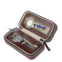 design de embalagem de carteira venda por atacado-\ Armazenamento de luxo com zíper caso organizador de couro 2 pcs caixa de relógio caixa de design de armazenamento caso de relógio, caixas de embalagem fornecedor personalizado