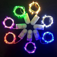 akü askısı hafif bakır toptan satış-2 M 20 LEDs led dize CR2032 Pil Kumandalı Mikro Mini Işık Bakır Gümüş Tel Yıldızlı Noel Cadılar Bayramı Dekorasyon Için LED Şeritleri