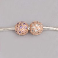 Wholesale Rose Gold Clip Charm - Authentic 925 Silver Beads Rose Gold Cosmic Stars Clip Charm Fits European Style Jewelry Bracelets