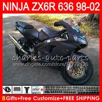 Wholesale 1998 kawasaki ninja zx6r for sale - Group buy 8Gifts For KAWASAKI NINJA ZX6R ZX636 ZX R ZX Flat black NO42 CC ZX ZX R Fairing kit