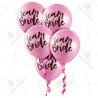 """Wholesale Mini Latex Balloons - 10 inch Letters """"team bride"""" Latex Decorative Balloons Wedding Bachelor Hen Party Round Pink White Balloon Party Decorations Mini Order 100P"""