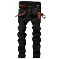 Long blossoms trouser - 2017 new Men s black plum blossom embroidered denim jeans Slim straight pants Long trousers for men