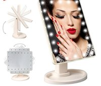 Wholesale with USB Charge Degree Rotation Touch Screen Makeup Mirror Cosmetic Folding Portable Compact package With LED Makeup Tools DHL