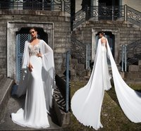 Wholesale long tail elegant gown - 2017 New Sexy Dubai Wedding Dresses with Wrap Sweetheart Lace Appliques Elegant Modern Sexy Bridal Gowns with Chiffon Long Tail