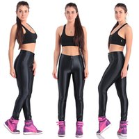Wholesale American Apparel High Waisted - Europe American Style Apparel Shiny Women's White Pants High Waisted Womens Trousers Leggings Candy Color Shiny Dance Disco Pants