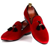 Wholesale Drop Shipping Wedding Dresses - Harpelunde Fashion Men Dress Shoes Wedding Red Velvet Loafers With Black Tassel Free Drop Shipping Size 7-14