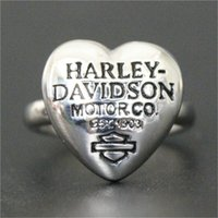 Wholesale Wholesale Stainless Ring China - 2pcs lot Hot Selling New Arrival Heart Biker Ring 316L Stainless Steel Jewelry Band Party Silver Motorbiker Ring