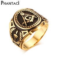 2016 Hot Vintage 316L Stainless Steel Men Anel de ouro Free Mason Freemasonry Masonic Masculino Retro Punk Black Brand Ring Jewelry
